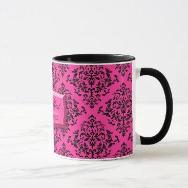Coffee Themed 311-Pink Blast Hot Pink Damask Coffee Mug