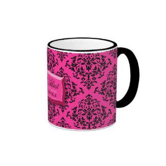 311-Pink Blast Hot Pink Damask Coffee Mug