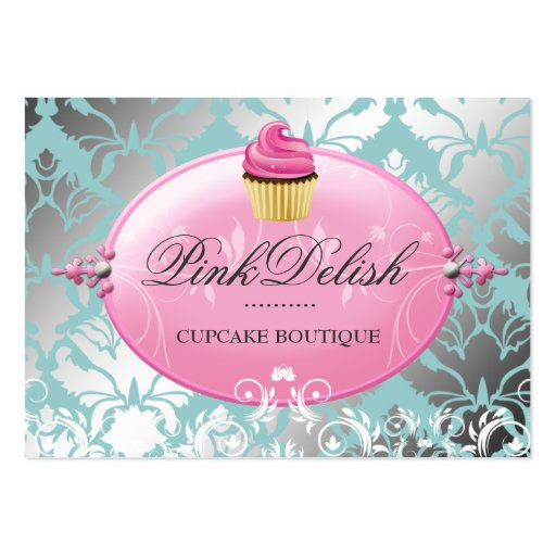 311 Pink Delish Cupcake Teal Cooking Utensils Business Card Template