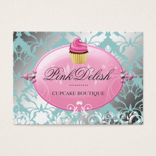 311 Pink Delish Cupcake Teal Cooking Utensils Business Card