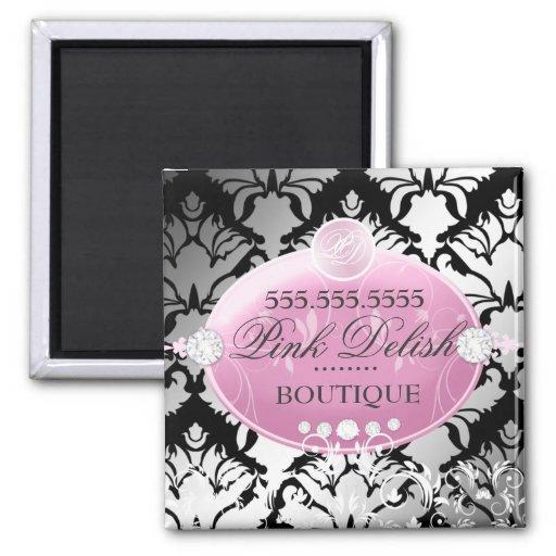 311-Pink Delish Damask Shimmer   Black Refrigerator Magnets