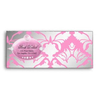 311-Pink Delish Damask Shimmer Envelopes