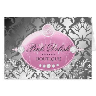 311-Pink Delish Damask Shimmer | Faux Silver Card