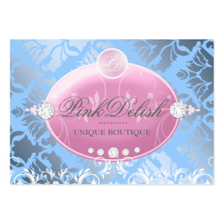 311-Pink Delish Monogram | Baby Blue 3.5 x 2.5 Business Card