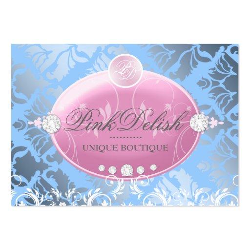 311-Pink Delish Monogram | Baby Blue 3.5 x 2.5 Business Card