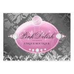 311-Pink Delish Monogram | Charcoal 3.5 x 2.5 Business Card