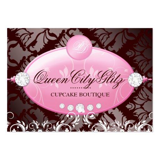 311 Pink Delish Monogram | Chocolate 3.5 x 2.5 Business Card Templates