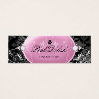 311 Pink Delish with Paw Monogram Noir 3.5 x 2.5 Mini Business Card