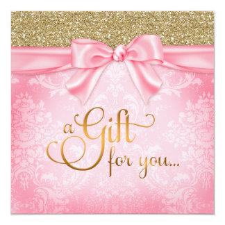 311 Pink Faux Glitter Gift Certificate 5.25x5.25 Square Paper Invitation Card