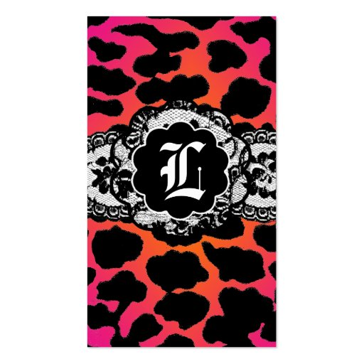 311 Pink Fire Leopard and Lace Business Card