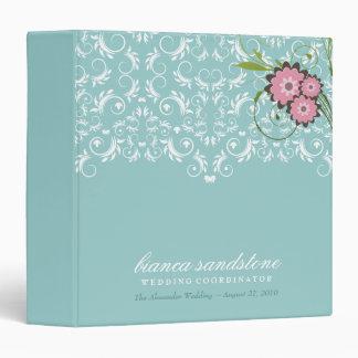 311-Pink Floral Flourish   Mint Blue Binder