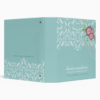 311-Pink Floral Flourish   Mint Blue (with dots) 3 Ring Binder