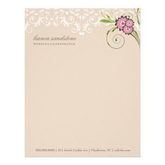 311-Pink Floral Flourish | Sand Letterhead