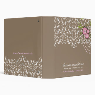 311-Pink Floral Flourish   Sand (with dots) 3 Ring Binder