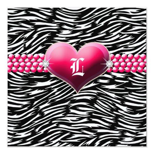 311-Pink Glam Heart Monogram   Black Card