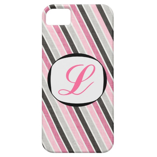 311 Pink Gray Stripes Initial iPhone Cover