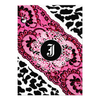 311-Pink Leopard and Lace Invitation