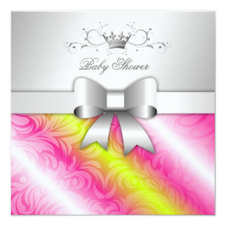 311-Pink Lime Sugar Bow Baby Shower Card