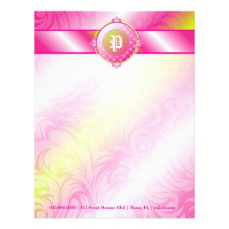 311-Pink Lime Sugar Monogram Customized Letterhead