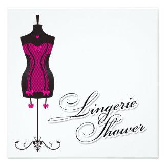 311-Pink Lingerie Mannequin 5.25x5.25 Square Paper Invitation Card
