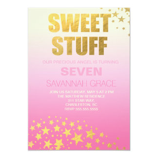 311 Pink Ombre Gold Sweet Stuff Birthday Invite