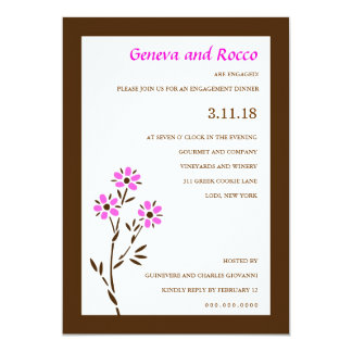 311-PINK PASSION FLOWER 5X7 PAPER INVITATION CARD