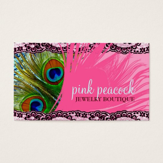 311 Pink Peacock Lace Business Card