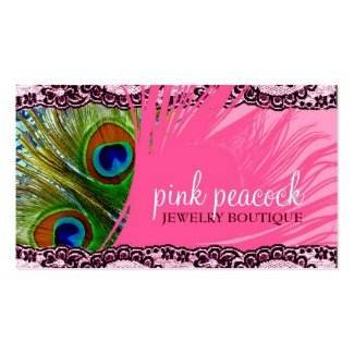 311 pink peacock lace business card templates - Girly Business Cards