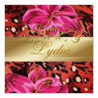 311 Pink Wild Tiger  Lily Golden Metallic Card