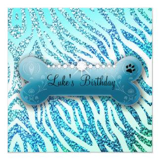 311 Posh Pooch Birthday Glitter Zebra Card