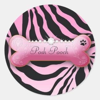 311 Posh Pooch Pink Zebra Classic Round Sticker