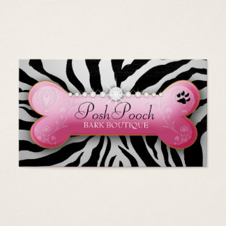 311 Posh Pooch Silver  Zebra Business Card