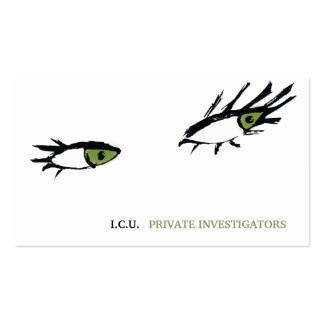 311 Private Investigator Green Eyes Business Card Template