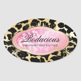 311 puntos de oro del leopardo del boutique Bodaci Pegatina De Óval Personalizadas
