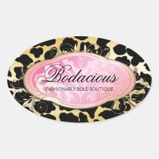 311 puntos de oro del leopardo del boutique pegatina ovalada