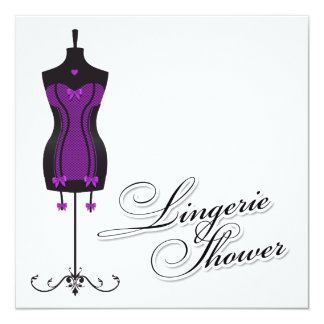 311-Purple Lingerie Mannequin 5.25x5.25 Square Paper Invitation Card