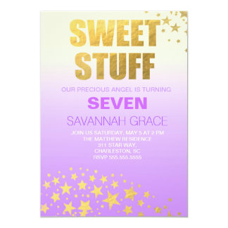311 Purple Ombre Gold Sweet Stuff Birthday Invite
