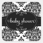 311 PWhite Lux Damask Baby Shower Sticker