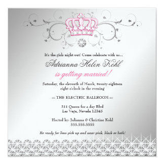 311-Queen for a Day | Faux Silver 5.25x5.25 Square Paper Invitation Card
