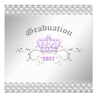 311-Queen for a Day Graduation Party Lilac Personalized Invitation