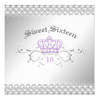 311-Queen for a Day Sweet Sixteen Lilac Personalized Announcement