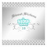 311-Queen para una turquesa del dulce dieciséis de Invitación Personalizada