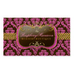 311-Raspberry Macaroon Damask Double-Sided Standard Business Cards (Pack Of 100)
