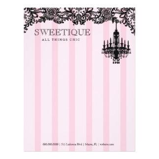 311 rayas rosadas de Sweetique y lámpara del cordó Plantillas De Membrete