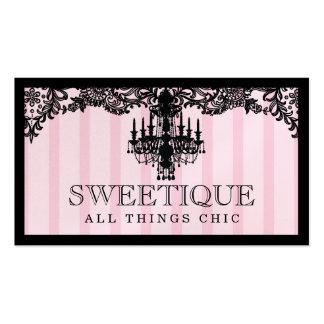 311 rayas rosadas de Sweetique y lámpara del Tarjetas De Visita