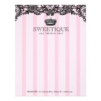 311 rayas rosadas y cordón de Sweetique Membrete A Diseño
