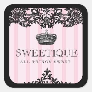 311 rayas rosadas y cordón de Sweetique Pegatina Cuadradas Personalizadas