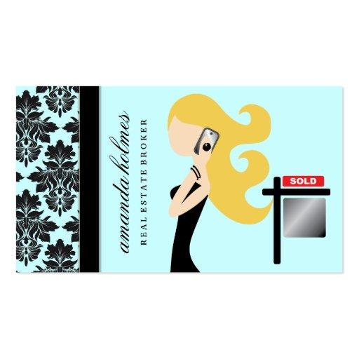 311 Real Estate Blonde Fashionista    Blue Business Card
