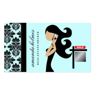 311 Real Estate Fashionista Brunette Black Double-Sided Standard Business Cards (Pack Of 100)