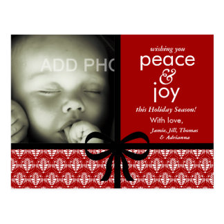 311-Red & Black Christmas Card with Bow Post Card